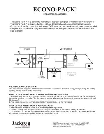 specifications panel dim econo packtm jackson systems
