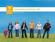 Community Research Matters @ HSD newsletter - University of ...