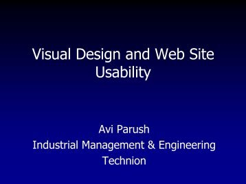 Visual Design and Web Site Usability