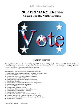 2012 PRIMARY Election - Craven County Government