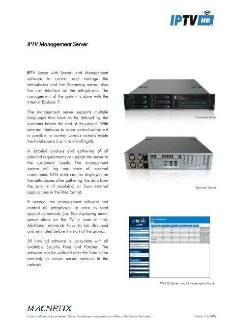 IPTV Management Server IPTV Management Server - MACNETIX