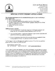 Special Event Permit Application Packet - City of Park Ridge