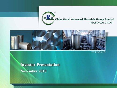 幻灯片 1 - China Gerui Advanced Materials Group