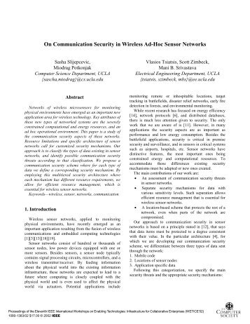 On communication security in wireless ad-hoc sensor ... - CiteSeerX