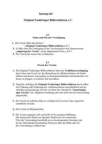 Satzung der Original Truderinger Böllerschützen e.V.