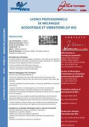 Plaquette LP AV Modif BB oct 2012 - Faculté des Sciences et ...