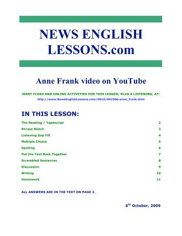 The 11-page classroom handout - News English Lessons
