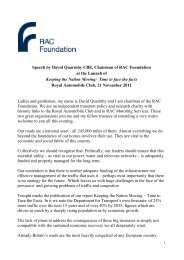 launch event speech by David Quarmby ... - RAC Foundation