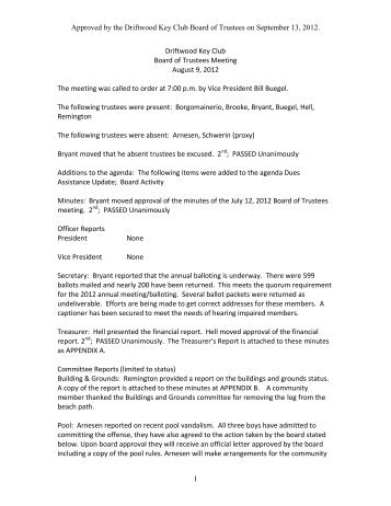 August 2012 Board Meeting Minutes - Driftwood Key Club