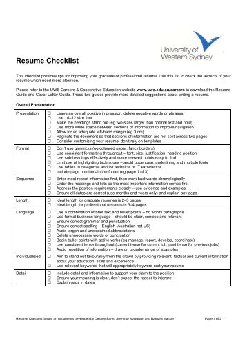 Resume Review Checklist for Students: