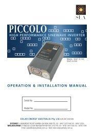Piccolo Installation.. - Solar Energy Australia
