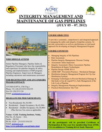 integrity management and maintenance of gas pipelines - GAIL (India)