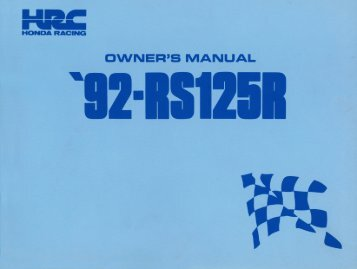 Honda RS125R-92 Owner Manual