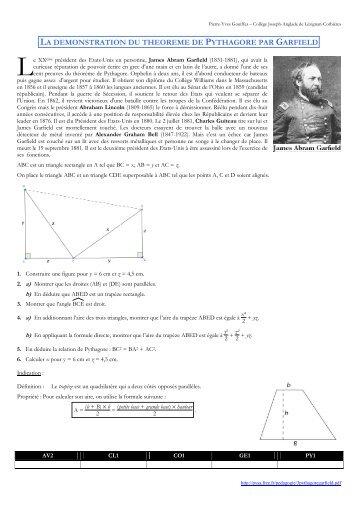 la demonstration du theoreme de pythagore par garfield - PYSA - Free