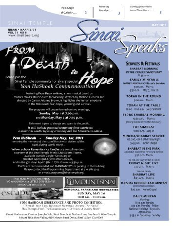 Read the latest edition of Sinai Speaks newsletter on ... - Sinai Temple