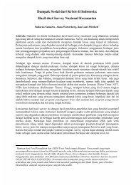 Dampak Sosial dari Krisis di Indonesia: Hasil dari Survey Nasional ...