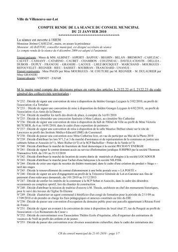 Séance du 21 janvier 2010 - Villeneuve sur Lot
