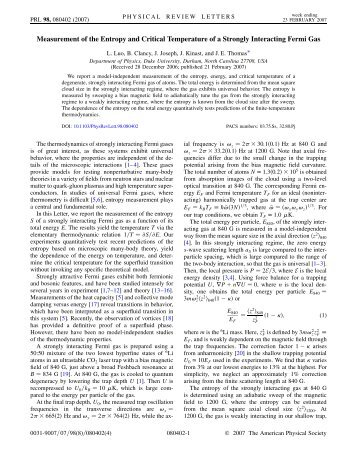 Measurement of the Entropy and Critical Temperature of a ... - Physics