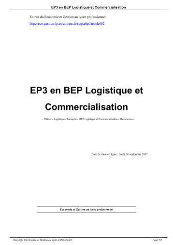 EP3 en BEP Logistique et Commercialisation - Economie et Gestion ...