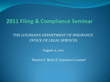 Producer Compensation Law Session - Part 1 - Louisiana ...