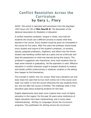 Conflict Resolution Across the Curriculum by Gary L. Flory
