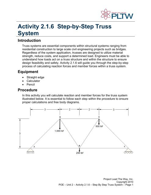 Activity 2 1 6 Step By Step Truss System Troy High School