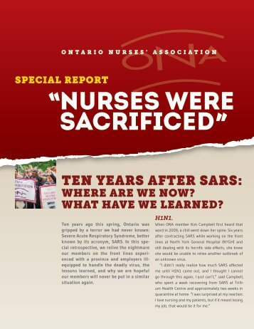 Special Report: Nurses Were Sacrificed - 10 Years After SARS