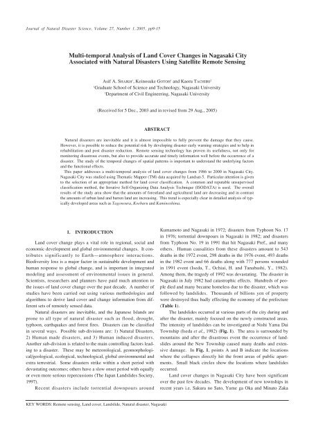 Multi-temporal Analysis of Land Cover Changes in Nagasaki City ...