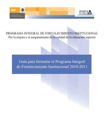 Guía para formular el Programa Integral de Fortalecimiento ...