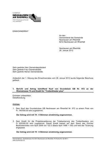 kurz 26.01.2012 (PDF) - Gemeinde Neuhausen am Rheinfall