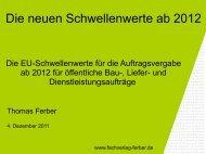 Die neuen EU-Schwellenwerte ab 2012 - Fachverlag Thomas Ferber