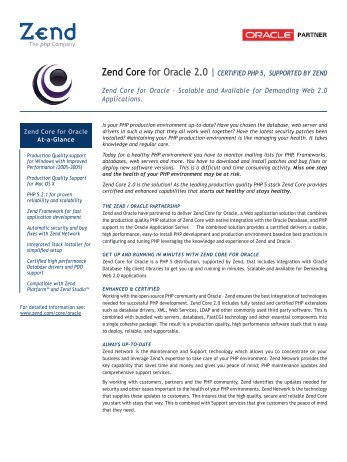 Zend Core for Oracle 2.0 | CERTIFIED PHP 5, SUPPORTED BY ...
