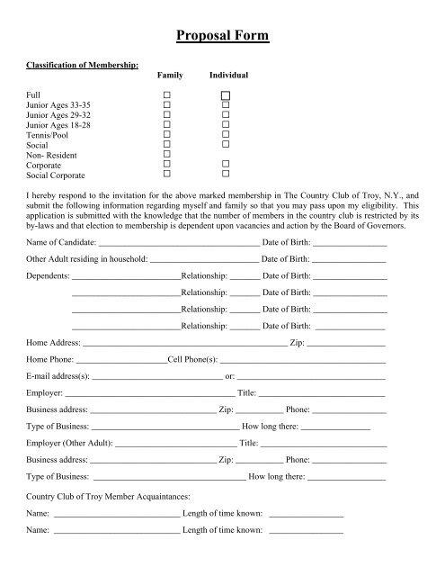 Proposal Form - The Country Club of Troy on country club application form, social club members, school club application form, social club membership form, club membership application form, social club rules, social media membership form, social club floor plans, social club activities, social club background, social club events,