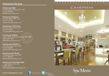 Spa Menu - Champneys