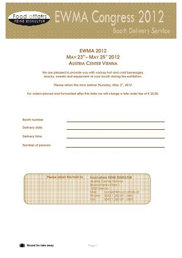 Stand Catering Order Form - Btme