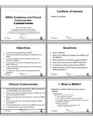 MRSA: Guidelines and Clinical Controversies - CSHP-BC Home