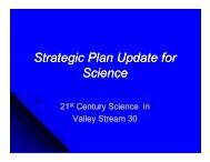 Strategic Plan Update for Science - Valley Stream District 30