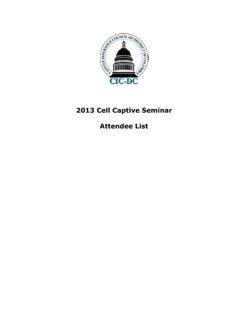 Final Attendee List - Captive Insurance Council of the District of ...