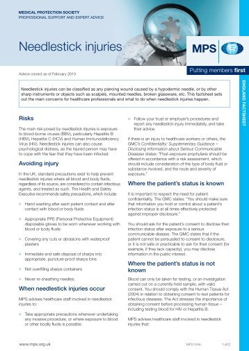 View this factsheet as a PDF - Medical Protection Society
