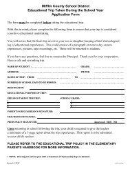 Educational Trip During School Year Application Form - Mifflin ...