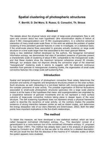 Spatial clustering of photospheric structures
