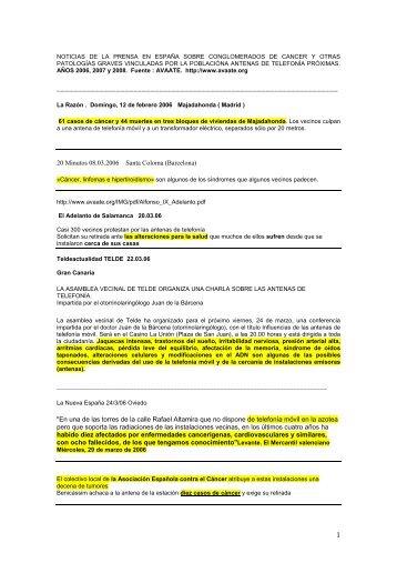 NOTICIAS CONGLOMERADOS DE CANCER