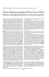 Factors Influencing Supply of Major Ions to Inland Waters, with ...