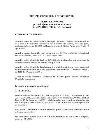 DECIZIA CONSILIULUI CONCURENTEI nr.130 din 29.05.2006 ...