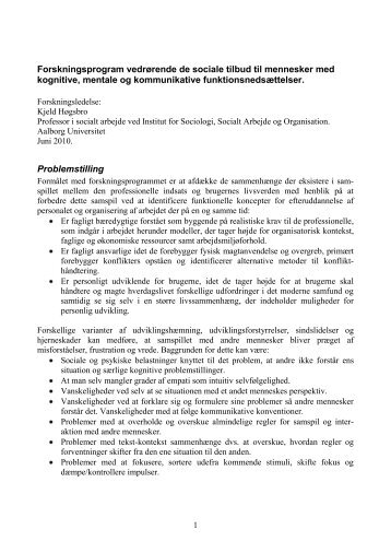 Forskningsprogram vedrørende de sociale tilbud til mennesker med ...