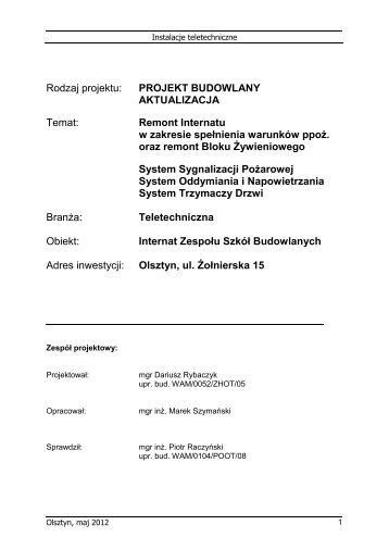 Rodzaj projektu: PROJEKT BUDOWLANY AKTUALIZACJA ... - Olsztyn