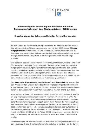 Behandlung und Betreuung von Personen, die unter ... - PTK Bayern