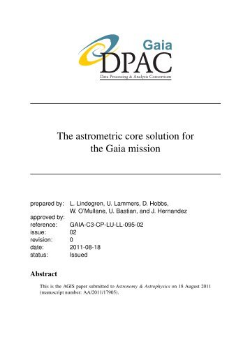 The astrometric core solution for the Gaia mission - Lund Observatory