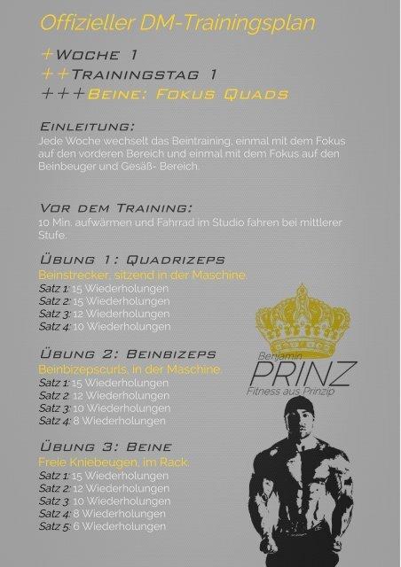 Offizieller DM-Trainingsplan