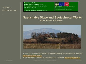 Sustainable slope and geotechnical works - Project ALPTER